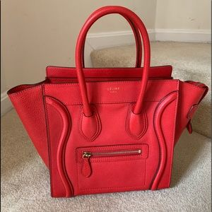 Authentic CELINE Micro Luggage red excellent